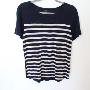 J. Crew Navy Blue Striped Knit Short Sleeve Top